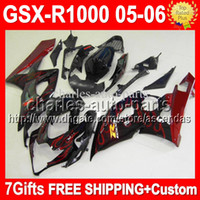 100% NEW+ Cowl For SUZUKI GSXR1000 K5 red flames 05- 06 05 06 ...