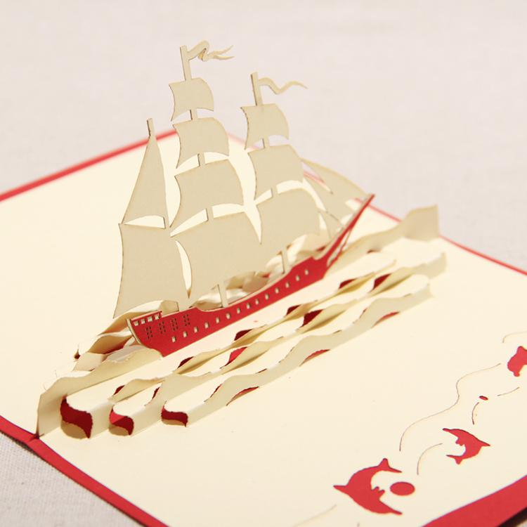 Have a nice trip the creative sailing boat handmade for Kirigami christmas card