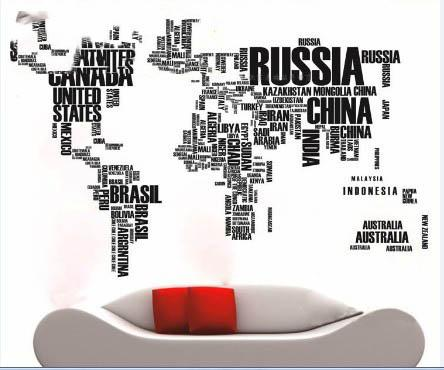 Black Wall Decals world map wall sticker map of the world for learning study black