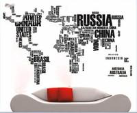 al por mayor decoración de mapas-Mapa del mundo para aprender la decoración negra de la pared del estudio El arte dice el refrán de las etiquetas engomadas de la pared del vinilo