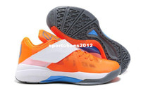 Low Cut Men Canvas 2013-2014 New Arrived kd iv basketball shoes,orange Net cloth and white leather buttons air sneakers,free shipping with box