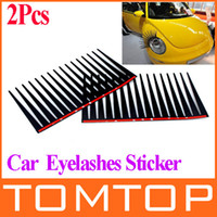 Personalized Sticker Head  Fashion Cool 3D Universal Car Headlight Eyelashes Sticker car Decoration Accessories Black free shipping wholesales K922