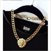 Wholesale Stella amp Fashion New Punk Vintage Gold wide Chain Lion head Queen Avatar necklace