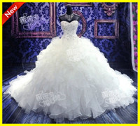 Wholesale White Amazing Romantic Strapless Ball Gown Ruffles Crystal Beading Beads Organza Cathedral Train Wedding Bridal Dresses Dress Gowns Custom