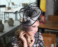 Stingy Brim Hat Black Printed Women Dress Hair Fascinator Hair Accessories Women Hair Clips Charming Women Hair Fascinator Black Fashion Feather Mesh Stones Decorations