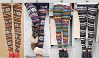 Wholesale Knit Leggings Pattern Free - 100pcs knitted rabbit fur blend multicolour snow elk skull patterned autumn and winter women leggings tights pants