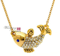 Pendant Necklaces Middle Eastern Women's 2014 New Rhinestone Pendant Necklace 18K Real Gold Plate CZ Diamond Lovely Carp Small Gyarados Necklaces Pendants free shipping