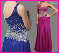 Model Pictures One-Shoulder Organza 2013 Fuschia Luxury Beaded Crystals One Shoulder Chiffon Evening Dresses Gowns E2808
