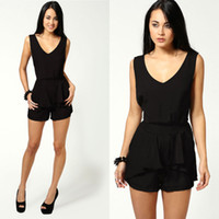 Black Jumpsuit Shorts   Fashion Ql
