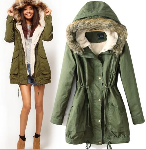 Trench Coat Women Winter Autumn Thick Outwear Army Green Female