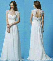 Chiffon Beads Classic  New Lace Cap Sleeve Grecian Wedding Dresses 2013 Chiffon A-Line Beaded Cut Out Empire Ruched Floor-Length SL029