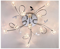 Wholesale Crystal Cube Ceiling Light Chrome Metal Pendant Lamp Lighting Warm White Fixture Chandelier