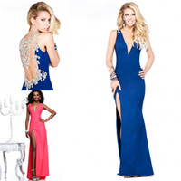 Wholesale New Arrival Pageant Evening Dresses Deep V Neck Back Rhinestone amp Crystal Beaded Glitz Royal Blue Side Slit Formal Prom Clothes TE
