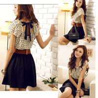 Wholesale Korean Women Chiffon Summer NEW Fashion Short Sleeve Dots Polka Waist Mini Dress