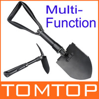 Wholesale Portable Mini Multi functionThree Folding Shovel Spade Pickax gardening Outdoor Camping Exploration Survival Tool H9678