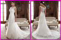 Wholesale 2014 New Elegant A Line Wedding Dress Lace Applique Sheer Bridal Gown With Zipper Back