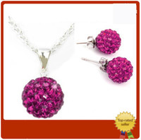 Wholesale Hot Sale Silver Shamballa Jewelry Set Fashion mm Crystal Disco Ball Pendant Necklace Fit quot O quot Chains Stud Earring Jewelry Set sets