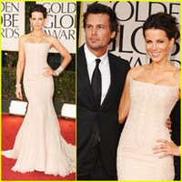 Wholesale 2012 Kate Beckinsale New Golden Globe Awards Sexy Strapless Bateau Sleeveless Mermaid Lace Celebrity Dresses dhyz