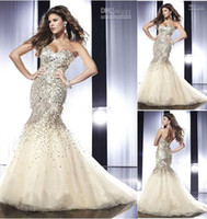 New Mermaid Pageant Dresses Sexy Sweetheart Crystals Beads S...
