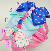 Wholesale Girls Baby big dot Bow FLOWER Hair Top HEADBANDS Grosgrain Ribbon Hair Accessories Children s hoop buckle