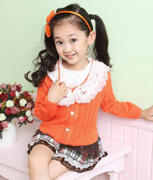 Wholesale EMS Free Children Girls Fresh Sweater Set Child Crochet Outwears Short Tiered Cake Skirt Suit Blue Orange Autumn Outfits B1388
