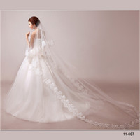Wholesale 11 New Real Sample Cheap In Stock T cm long White Or Ivory Tulle Lace Wedding Bridal Without Comb Veil