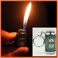 Gas beer can lighter - New Novelty Beer Can Keyring Metal Inflatable Butane Gas Cigarette cigarettes Lighter Collectable