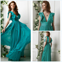 Chiffon Sleeveless Floor-Length Cheap Best Seller Free shipping Aqua V-neck Sheath Floor-length Backless Ruffles Chiffon Formal Dresses Evening Dress Party Dress Prom Dress
