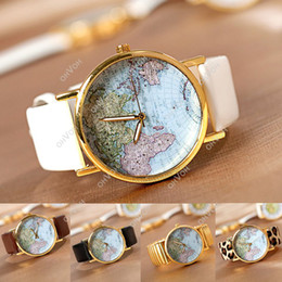 Wholesale S5Q World Map Globe Dial Leather Alloy Women s Gir s Analog Quartz Watches Wristwatch AAACGA