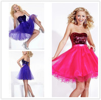 A-Line affordable homecoming dress - Affordable Pretty A line Strapless Backless Short Mini Tulle Sequins Tiers Homecoming Cocktail Party Dress
