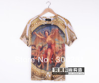 Wholesale 2013 summer brand men s shirt fashion designer sky medusa t shirt printed goddess cotton casual Digital printing with tag label