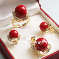 Wholesale coral diamante Necklace pendant ring earring fashion jewelry set