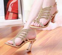 High Heel Open Toe PU Sandal Crystal Light Gold High Heels Prom Evening Party Dress Women Lady Bridal Wedding Shoes r-18