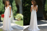 Sexy Summer Deep V Neck Lace Ruffle Floor- Length Sheath Wedd...