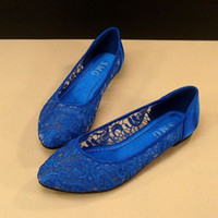 amazing offices - Elegant lace women shoes amazing design material lace and satin big size blue beige and black lady shoes flat