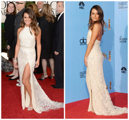 Wholesale Sexy Slit Halter Lace Celebrity Dress Lea Michele at Golden Globe Awards On Sale Os12