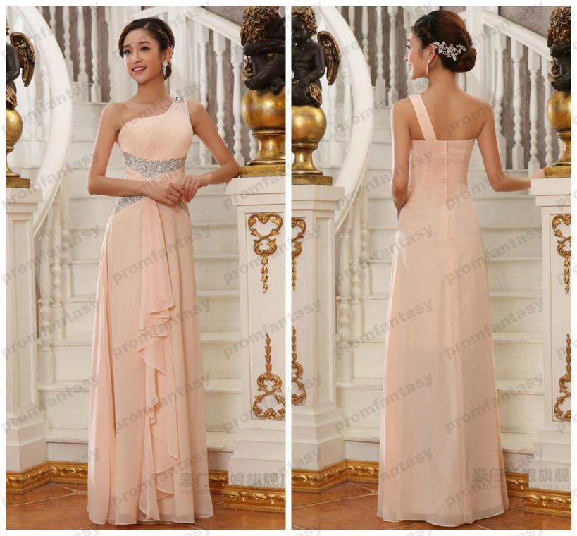 Peach Bridesmaid Dresses One Shoulder Bling Bling Crystal