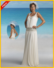 Wholesale 2013 Square Sheath Chiffon Beads Sweep Beach Wedding Bridal Dresses Dress Gowns Forever Yours bridals dresses