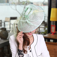 Wholesale Women Hat Fascinators Fashin Dress Hair Accessories Ladies Elegant Feather Hair Fascinator Light Green Color Hair Clips