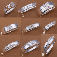 Wholesale Hot Sale Silver Rings Jewelry Sweety Love Crystal zircon Side Stones Woman Man s Rings Unisex Rings Good Gift