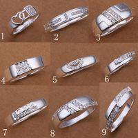 Wholesale Hot Sale Silver Rings Jewelry Sweety Love Crystal zircon Side Stones Woman Man s Rings Unisex Rings Good Gift
