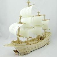 Modelo de bricolaje buque rompecabezas de madera hecha a mano 3D rompecabezas tridimensional montaje de madera velero juguetes