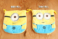 cute drawstring bag - new Despicable Me yellow wallet cute people Bunch of pocket drawstring bags plush styles children gift