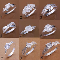 Wholesale Fashion Silver Solitaire Ring Jewelry Unsex Finger Rings Circle Rings Crystal diamond Rings Good Gift Hot Sale