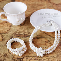 Wholesale Elegant Christmas Gift Five petals Double Rows Pearl Necklace Bracelet Earrings Jewelry set