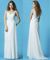 Reference Images V-Neck Backless Cheap V-Neck A-Line Grecian Wedding Dresses 2013 Online Chiffon Beaded Ribbon Belt V-Back Empire Floor-Length SL023