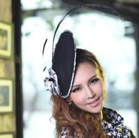 Wholesale Women Fascinator Hat Elegant Small Women s Fascinator Hat Black Feather Ladies Hair Accessory