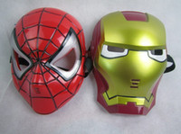 Wholesale GLOW In The Dark LED Iron Man Spider Man Mask Halloween Costume Theater Prop Novelty Make Up Toy Kids Boys Favorite FREE Shippin