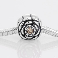 Wholesale Golden Flower Silver Charms european style charms solid sterling silver beads with threaded fashion fit european bracelets LW247
