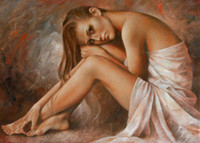 Wholesale Large Wall Art Best Beautiful Girls Laura Sex Nude Body Woman Lady Erotic Picture Oil Painting On Canvas